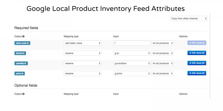 Local Product Inventory Feed Attributes