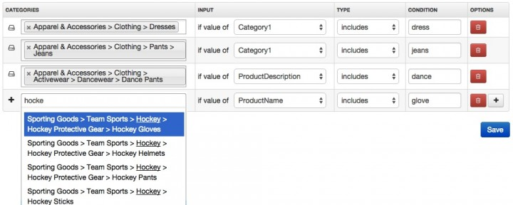 Volusion Google Categories with suggestions
