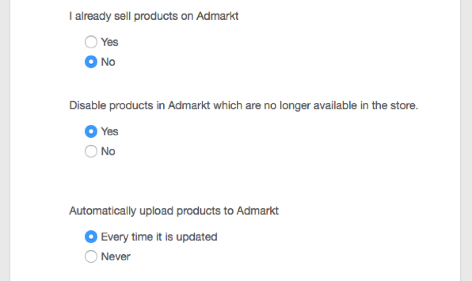 AdMarkt feed upload settings