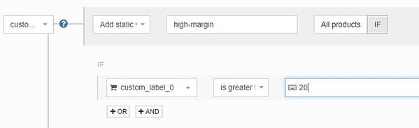 Google Shopping custom labels onderverdelen op basis van marge met DataFeedWatch regels